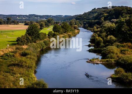Ruhr river near Hattingen, 'An der Kost', canoe, North Rhine-Westphalia - Stock Photo