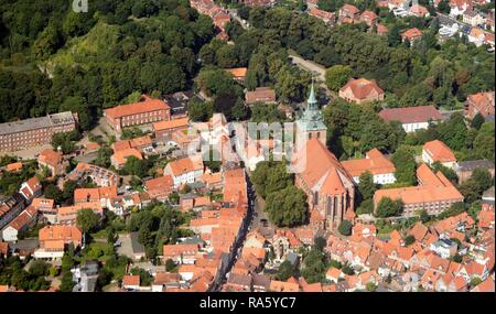 Aerial view, old town with Michaeliskirche, St. Michael's church, Lueneburg, Lower Saxony - Stock Photo