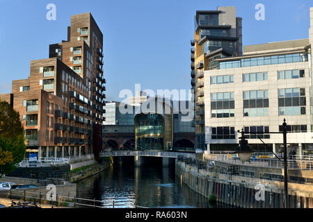 River Aire and train station, Leeds, West Yorkshire, UK - Stock Photo