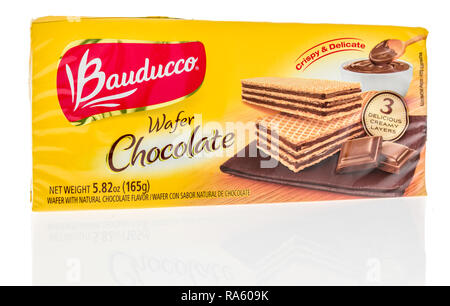Winneconne, WI - 30 December 2018: A package of Bauducco chocolate wafer on an isolated background. - Stock Photo