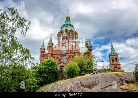 Helsinki, Finland - Jun 10th 2018 - A big church with a green dome on the top of a rock in Helsinki, capital of Finland - Stock Photo