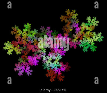 Rainbow floral explosion. Bright multicolored textural background. Fractal abstraction - Stock Photo