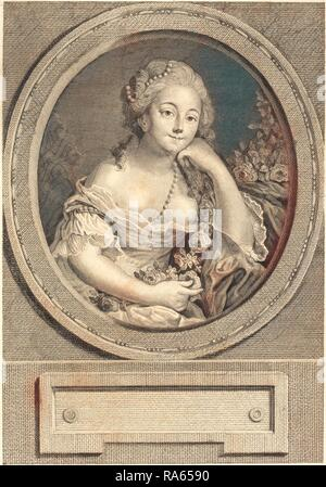 Juste Chevillet after Pierre-Antoine Baudouin, French (1729-1790), Le leger vetement, 1779, engraving and etching reimagined - Stock Photo