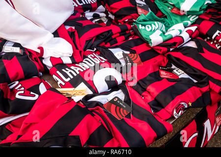 Milan, Italy. 1st January, 2019. Milan, Inter and Juventus t-shirts and gadgets for sale at a street vendor in front of the San Siro stadium, on January 01 2019 Credit: Mairo Cinquetti/Alamy Live News - Stock Photo
