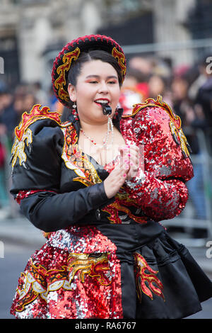 London, UK. 1st January, 2019. Performers from around the world and the UK come together in London for the New Years Day Parade Credit: George Cracknell Wright/Alamy Live News - Stock Photo