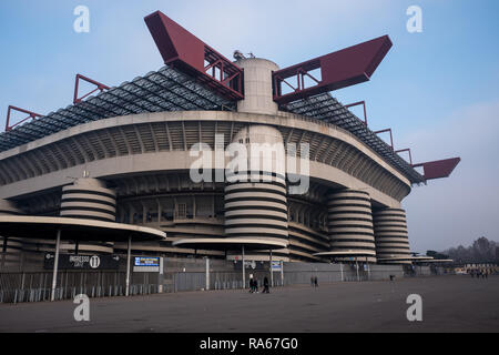 Milan, Italy. 1st January, 2019. Spectators in the Italian stadiums are on the rise.  San Siro is the setting of records with 62,281 paying players during the matches of the Internazionale Milan and 52,977 paying players during the matches of A.C. Milan. Credit: Mairo Cinquetti/Alamy Live News - Stock Photo