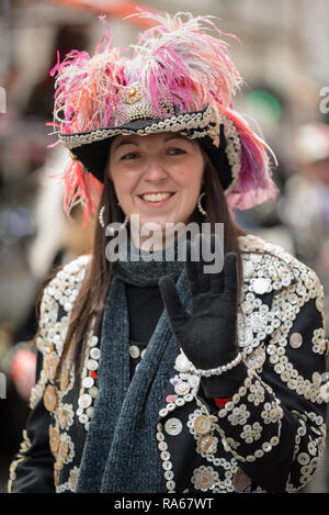 "London, UK.  1 January 2019.   The theme of the parade this year was ""London Welcomes the World"". With thousands of performers from a multitude of different countries and cultures from all around the world parade through central  London. Acts included the London Pearly KIngs and Queens Society.  Credit: Ilyas Ayub / Alamy Live News - Stock Photo"