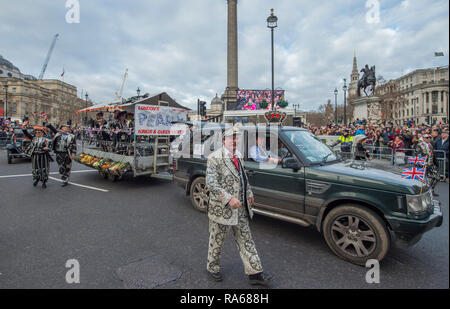 Westminster, London, UK. 1 January 2019. The annual London New Years Day Parade takes place on a route from Piccadilly to Parliament Square, watched by thousands. This years theme is London Welcomes The World. Image: London Pearly Kings and Queens Society UK. Credit: Malcolm Park/Alamy Live News. - Stock Photo
