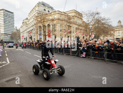 London, UK. 1st Jan, 2019. A members of Moto Stunts International performs for crowds at London's annual New Years Day Parade. Credit: Kevin J. Frost/Alamy Live News - Stock Photo