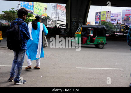 December 19, 2018 - Hyderabad, Telangana, India - Commuters are seen at Mehdipatnam in Hyderabad city..Hyderabad is the capital of southern India's Telangana state. Hyderabad, a former diamond-trading center that was once the Qutb Shahi dynastic capital. (Credit Image: © Azhar Khan/SOPA Images via ZUMA Wire) - Stock Photo