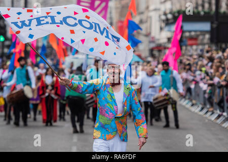London, UK. 1st January, 2019. The New Years Day parade passes through central London. Credit: Guy Bell/Alamy Live News - Stock Photo