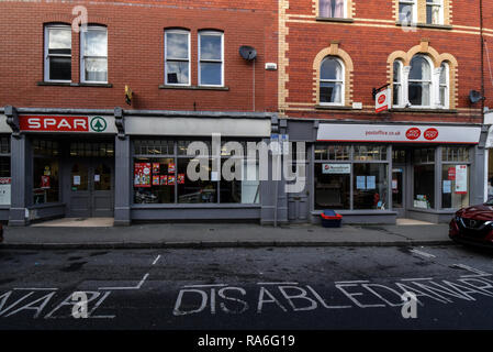 Builth Wells, Wales, Uk. 02nd Jan, 2019.  Closure of Spar shop and only Post Office, Builth Wells, Powys, Wales.UK. Both premises now closed down. Credit: Supated/Alamy Live News - Stock Photo