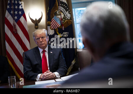 January 3, 2019 - Washington, District of Columbia, U.S. - U.S. President Donald Trump listens during a cabinet meeting in the Cabinet Room of the White House, on Wednesday, Jan. 2, 2019 in Washington, D.C. .Credit: Al Drago / Pool via CNP (Credit Image: © Al Drago/CNP via ZUMA Wire) - Stock Photo