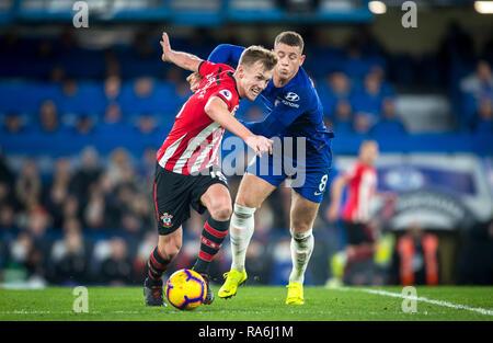 London, UK. 02nd Jan, 2019. James Ward-Prowse of Southampton & Ross BARKLEY of Chelsea during the Premier League match between Chelsea and Southampton at Stamford Bridge, London, England on 2 January 2019. Photo by Andy Rowland. Credit: Andrew Rowland/Alamy Live News - Stock Photo