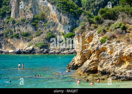 Beautiful island of Corfu, Paleokastritsa bay with charming and wonderful panoramic views in Greece ( Kerkyra) - Stock Photo