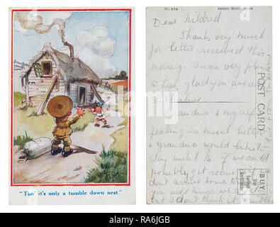 T Gibson first world war postcard with cartoon style front of soldier returning home to a tumble down nest - Stock Photo