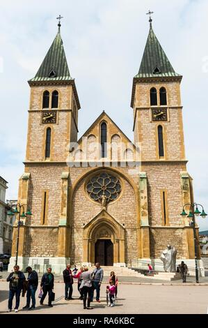 Christian Sacred Heart Cathedral, Sarajevo old town, Bosnia and Herzegovina - Stock Photo