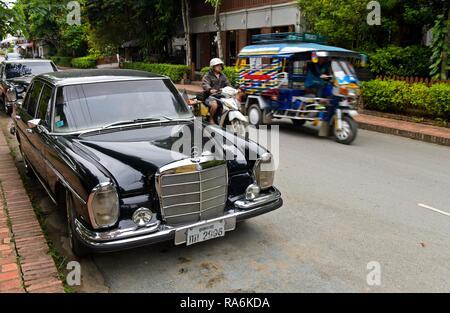 Mercedes-Benz S 280 vintage car with Laotian number plate, Luang Prabang, Laos - Stock Photo