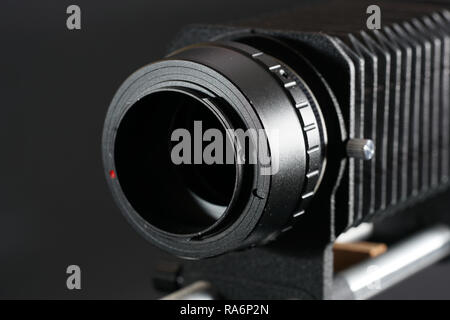 In macro photography and photomicrography, a bellows device is very helpful and almost indispensable - Stock Photo