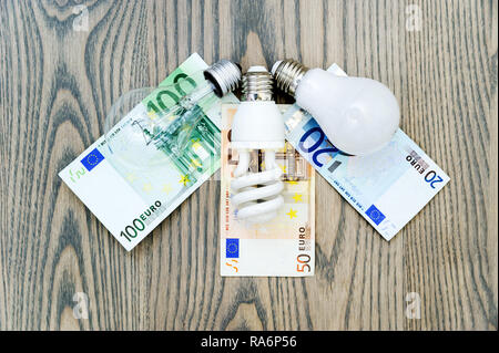 LED bulb saves money. The photo shows three lights: LED, fluorescent and incandescent. Money bills related costs for energy consumption. - Stock Photo