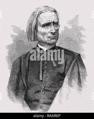 Franz Liszt (1811-1886) Musician, piano man. Prolific and famous Hungarian composer and author. Engraving 19th. century. - Stock Photo
