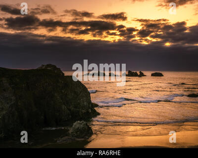Bandon Beach at sunset from Face Rock Scenic Viewpoint, Pacific Coast, Oregon, USA. - Stock Photo