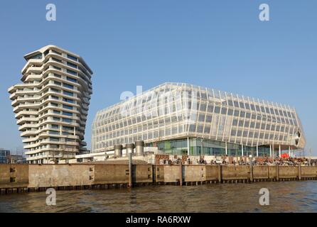 Marco Polo Tower and the Unilever Haus, HafenCity, Hamburg, Germany - Stock Photo