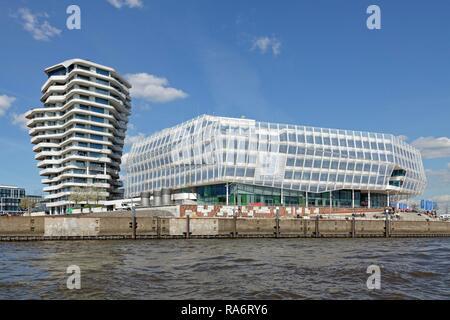 Marco Polo Tower and Unilever Haus, HafenCity, Hamburg, Germany - Stock Photo