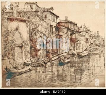 Donald Shaw MacLaughlan, Venetian Noontide, Canadian, 1876 - 1938, probably 1916, etching. Reimagined - Stock Photo