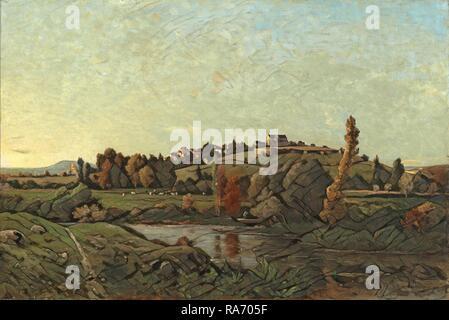 Henri-Joseph Harpignies (French, 1819 - 1916), Landscape in Auvergne, 1870, oil on canvas. Reimagined - Stock Photo