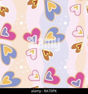 seamless pattern of multi-colored hearts on a background of uneven colored stripes. Stylized hand drawing 10 eps - Stock Photo