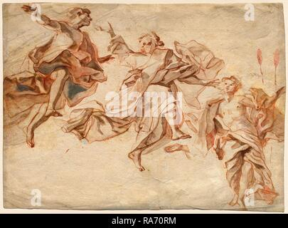 Cosmas Damian Asam, German (1686-1739), The Ascension of Christ, 1720, red chalk with gray wash on laid paper reimagined - Stock Photo