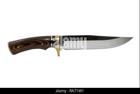 Vintage Hunting knife isolated on a white background. - Stock Photo