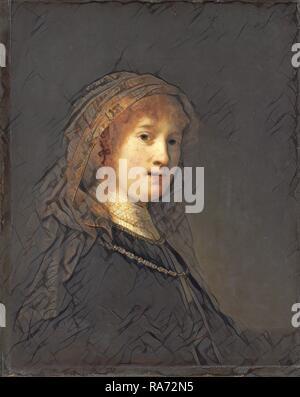 Rembrandt van Rijn (Dutch, 1606 - 1669), Saskia van Uylenburgh, the Wife of the Artist, probably begun 1634-1635 and reimagined - Stock Photo