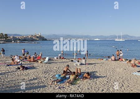Beach, Antibes, Département Alpes-Maritimes, Provence-Alpes-Côte d'Azur, France - Stock Photo