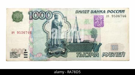 1000 Russian rubles of 1997, banknote - Stock Photo