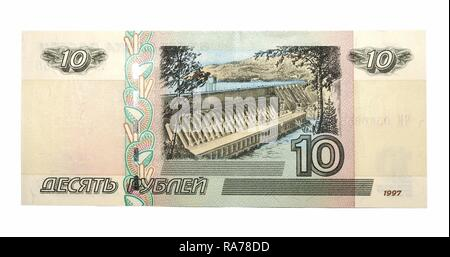 10 Russian rubles of 1997, banknote - Stock Photo