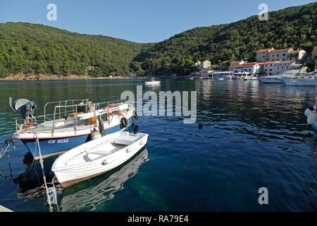 Boats in the harbour, Valun, Island of Cres, Kvarner Gulf, Croatia - Stock Photo
