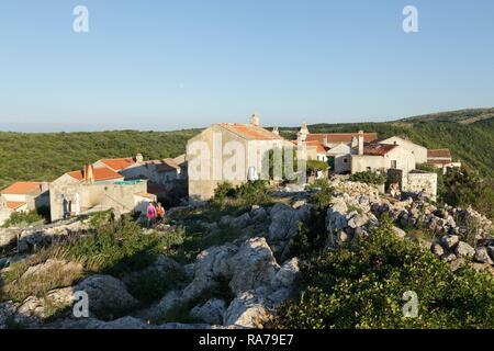 Former Pirates' Nest, Lubenice, Island of Cres, Kvarner Gulf, Croatia - Stock Photo