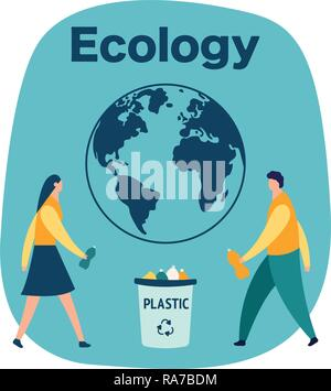 men and woman collect plastic bottles in the trash, waste recycling concept, cartoon vector illustration isolated on white background - Stock Photo