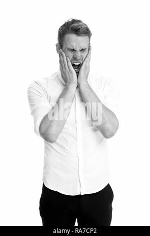 Overwhelmed concept. Man yawning face formal shirt white background. Man tired stressful yawn keep eyes closed. Guy with opened mouth yawns cover mouth hands. Stressful work in office. - Stock Photo