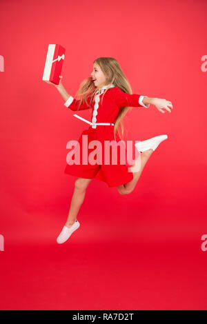 Spread Happiness And Joy Little Child In Motion Jump Delivery Christmas Present Gifts