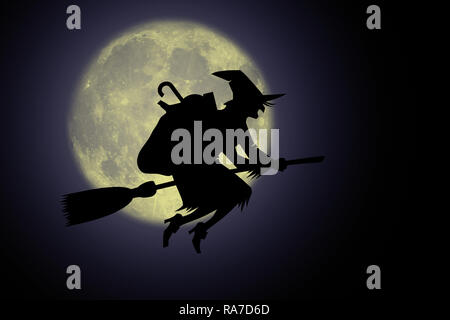 Epifania, Befana con scopa nella notte. - Stock Photo