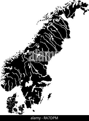 Map of Scandinavia icon black color vector I flat style simple image - Stock Photo