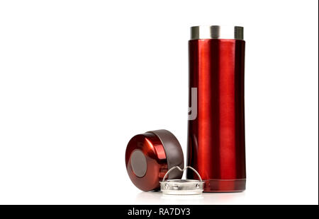Red thermos bottle opened cap isolated on white background. Coffee or tea reusable bottle container. Thermos travel tumbler. Insulated drink container - Stock Photo