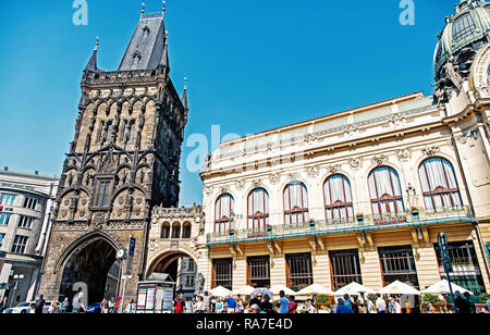 Prague, Czech Republic - June 03, 2017: Powder tower and municipal house in Prague, Czech Republic old town on blue sky background. Architecture, sightseeing, travelling, wanderlust, vacation concept. - Stock Photo
