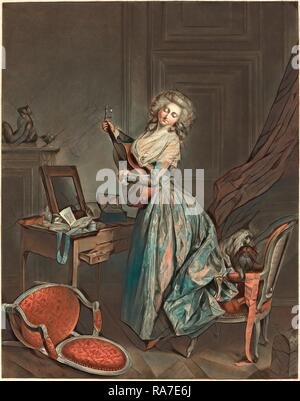 Jean-François Janinet after Nicolas Lavreince, French (1752-1814), A Woman Playing the Guitar, 1788-1789, etching and reimagined - Stock Photo