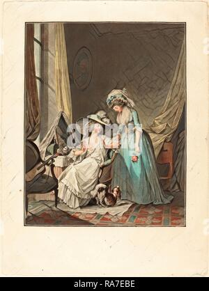 Jean-François Janinet after Nicolas Lavreince, French (1752-1814), L'aveu difficile (The Difficult Confession), 1787 reimagined - Stock Photo