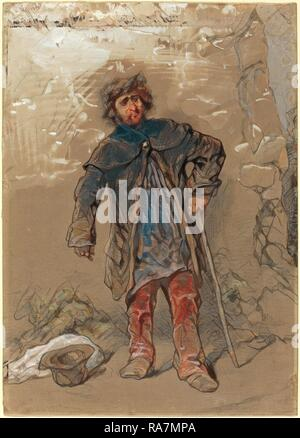 Paul Gavarni, French (1804-1866), English Beggar, graphite and watercolor, heightened with white. Reimagined - Stock Photo