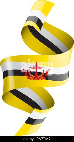Brunei flag, vector illustration on a white background - Stock Photo